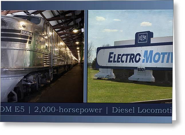 Trains Emd E5 Diesel Locomotive With Emd Signage Greeting Card