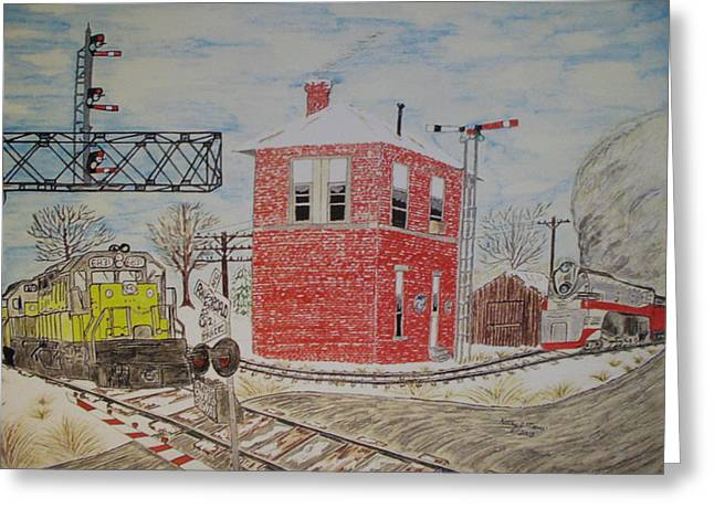 Greeting Card featuring the painting Trains In Motion by Kathy Marrs Chandler