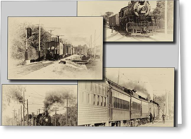 Trains Irm Collage Heirloom Finish Square Greeting Card by Thomas Woolworth