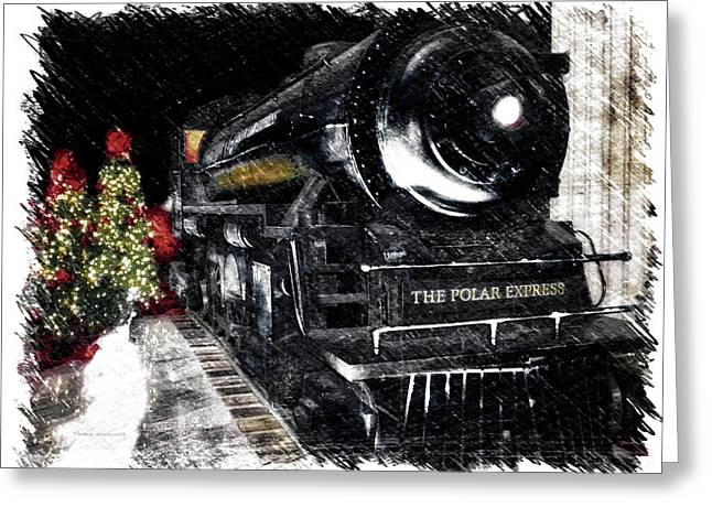 Trains The Polar Express Arriving In Union Station Pa Greeting Card