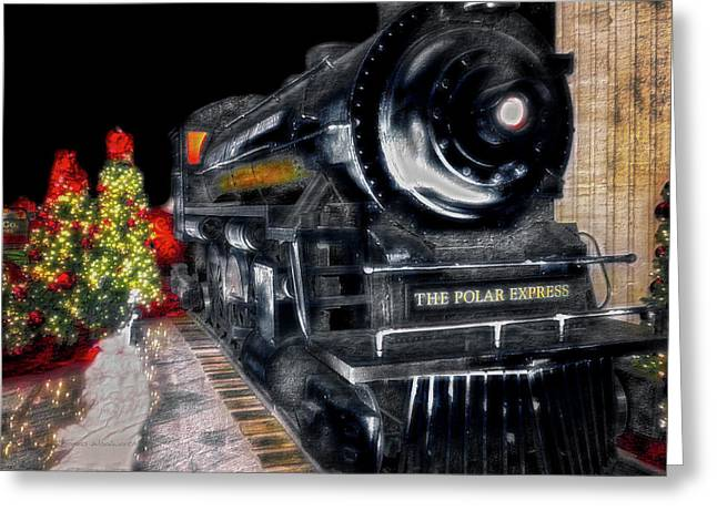 Trains The Polar Express Arriving In Union Station Greeting Card