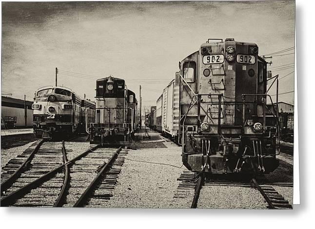 Trains Triple Engine Power Sepia Greeting Card by Thomas Woolworth