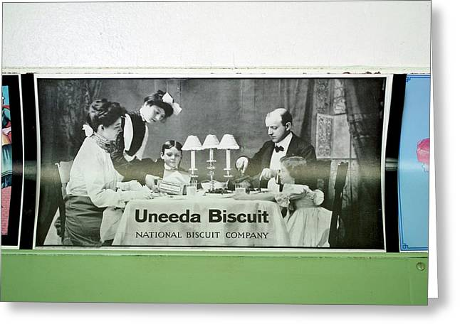 Trains Vintage Train Car Ad Biscuits Greeting Card