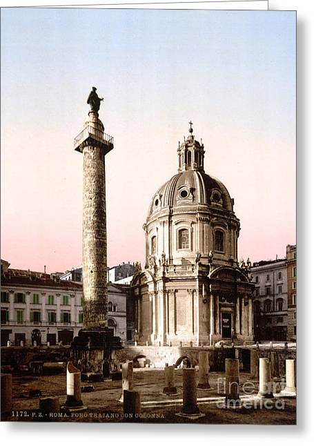 Trajans Column, 1890s Greeting Card by Science Source