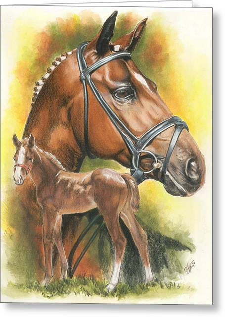 Greeting Card featuring the mixed media Trakehner by Barbara Keith