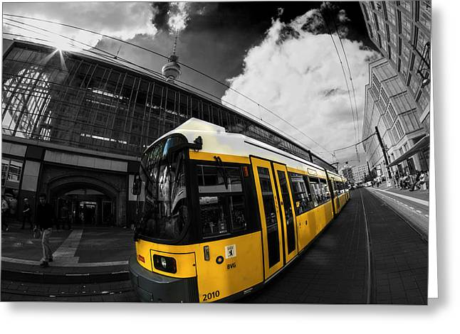 Tram And Tower Greeting Card by Nathan Wright