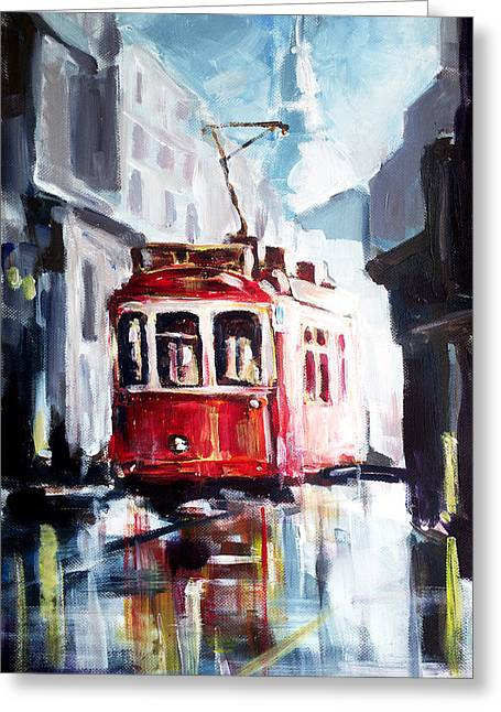 Tram On The Street Greeting Card