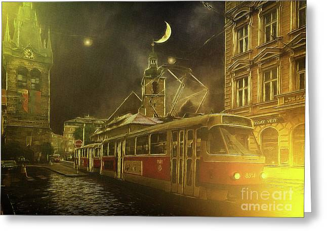 Tramatic - Prague Street Scene Greeting Card