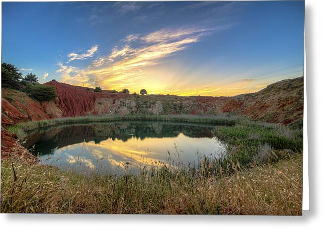Tramonto Cava Bauxite Greeting Card by Angelo Perrone