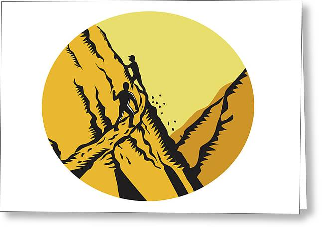 Trampers Climbing Steep Path Mountain Oval Woodcut Greeting Card