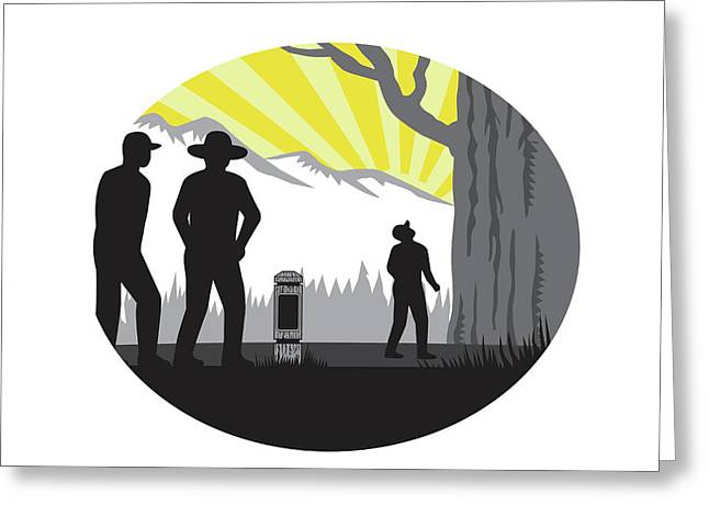 Trampers Mile Marker Giant Tree Oval Woodcut Greeting Card