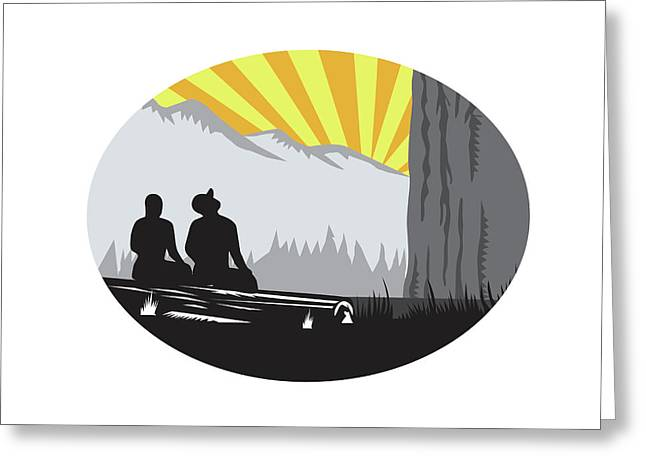 Trampers Sitting Looking Up Mountain Oval Woodcut Greeting Card by Aloysius Patrimonio