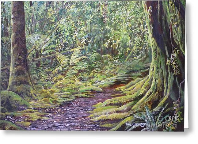 Tree Roots Paintings Greeting Cards - Trampers Track Greeting Card by Val Stokes