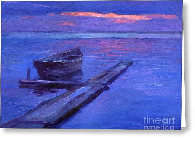 Frame Drawings Greeting Cards - Tranquil boat sunset painting Greeting Card by Svetlana Novikova