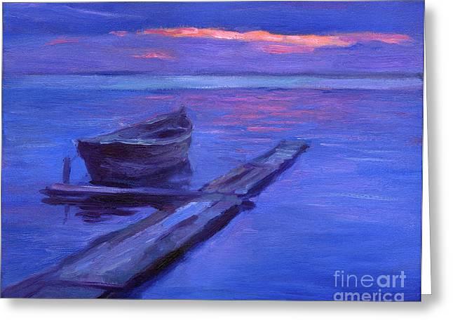 Tranquil Boat Sunset Painting Greeting Card by Svetlana Novikova