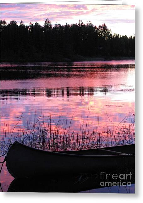 Tranquil Canoe In Sunset Greeting Card