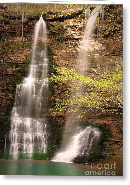 Tranquil Falls In Vertical Greeting Card by Tamyra Ayles