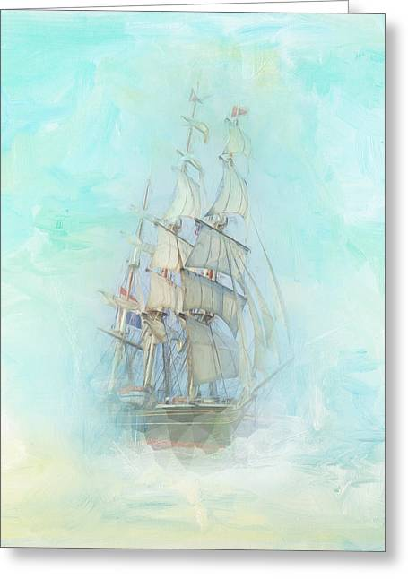 Tranquil Shores - Clipper Greeting Card by Amanda Lakey