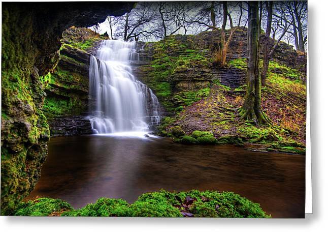 Greeting Card featuring the photograph Tranquil Slow Soft Waterfall by Dennis Dame