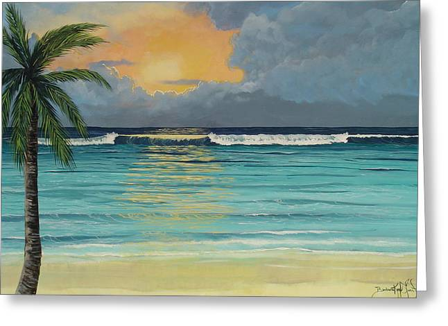Tranquil Sunset Greeting Card by Barbara Keel