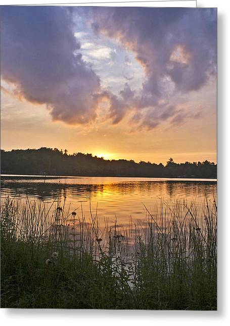 Tranquil Sunset On The Lake Greeting Card by Gary Eason