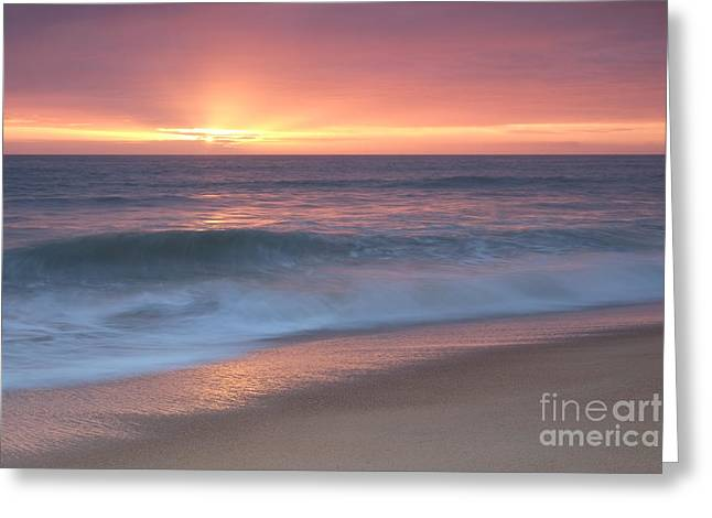 Tranquil Waves At Sunset Greeting Card by Angelo DeVal