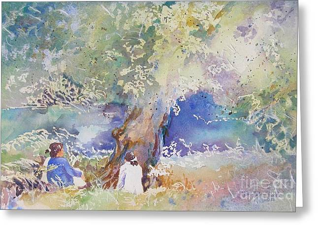 Greeting Card featuring the painting Tranquility At The Brandywine River by Mary Haley-Rocks