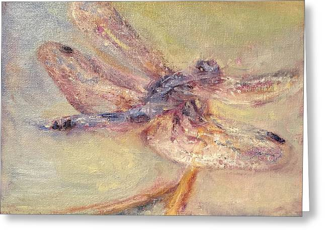 Tranquility - Dragonfly Painting - Impressionist Original Greeting Card by Quin Sweetman