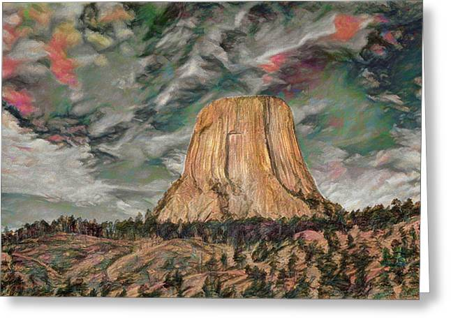 Transcendental Devils Tower Greeting Card