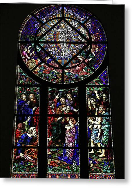 Transfiguration Window Greeting Card by Donna Kennedy