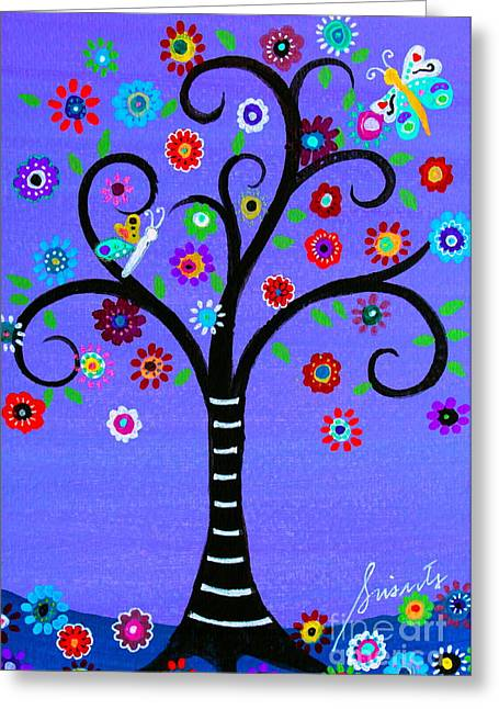 Greeting Card featuring the painting Transformation Tree Of Life by Pristine Cartera Turkus