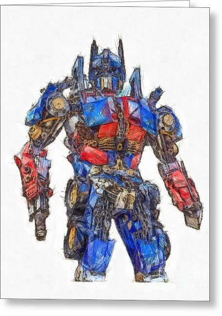 Transformers Optimus Prime Or Orion Pax Colored Pencil Greeting Card by Edward Fielding