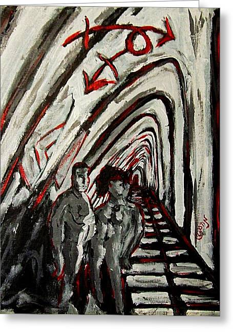 Torment Paintings Greeting Cards - Transgender Entity Nude in Modern Hallway with Arches and Gender Symbols of Trans Changes Struggle Greeting Card by MendyZ M Zimmerman