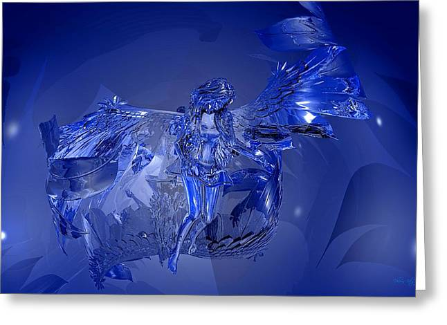 Transparent Blue Angel Greeting Card
