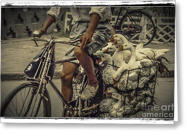 Greeting Card featuring the photograph Transport By Bicycle In China by Heiko Koehrer-Wagner