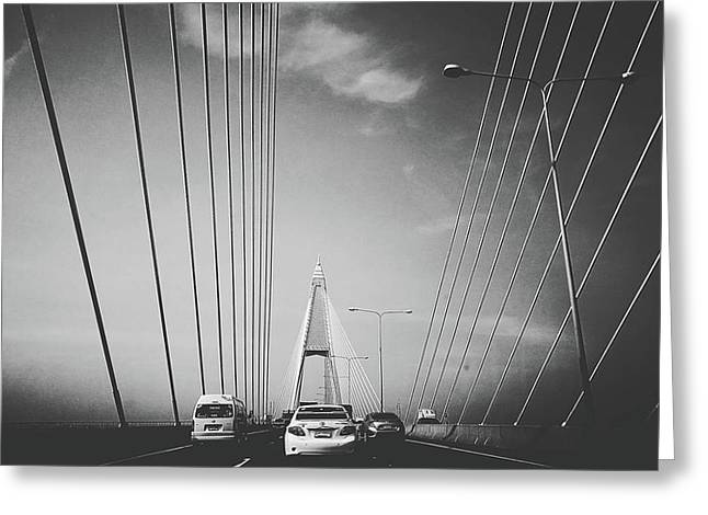 Transportation On Suspension Bridge Greeting Card by Sirikorn Techatraibhop