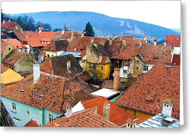 Transylvania Rooftops Greeting Card