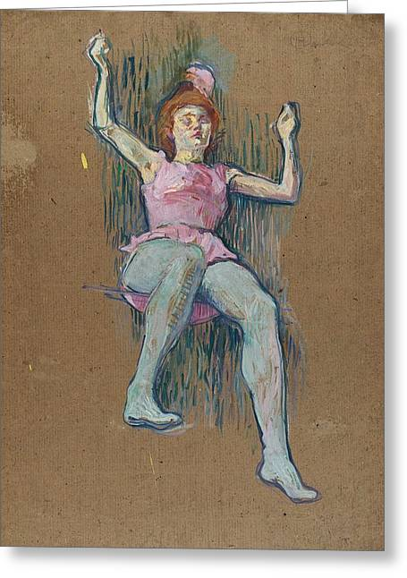 Trapeze Artist At The Medrano Circus Greeting Card by Henri de Toulouse-Lautrec