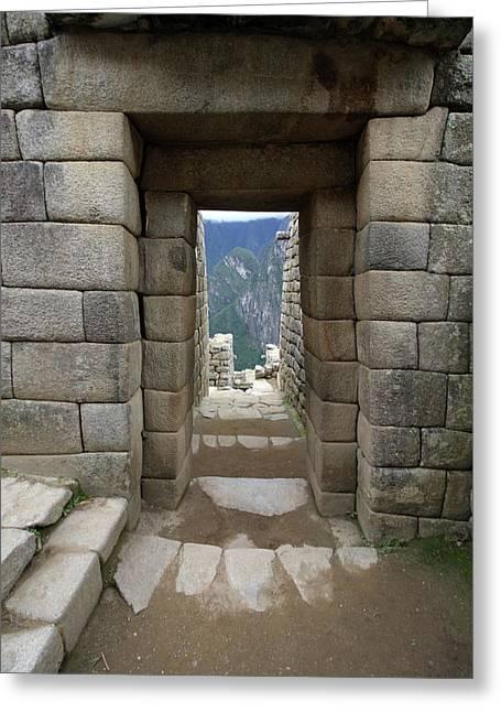 Trapezoidal Door, Machu Picchu, Peru Greeting Card by Aidan Moran