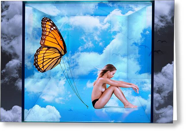 Trapped Butterfly Greeting Card