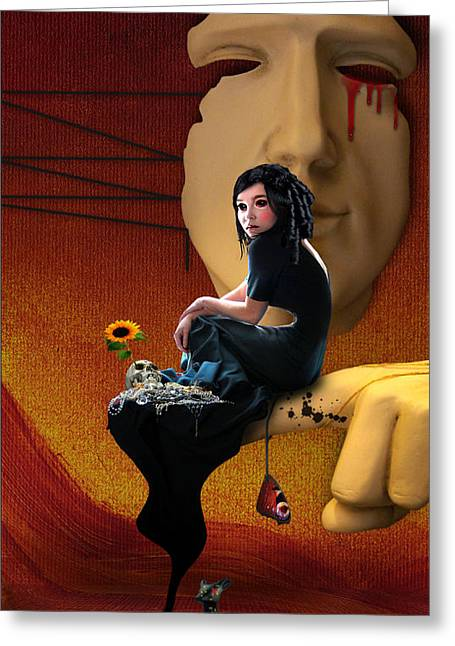 Sorrow Greeting Cards - Trapped in my own fantasy Greeting Card by Ausra Kel