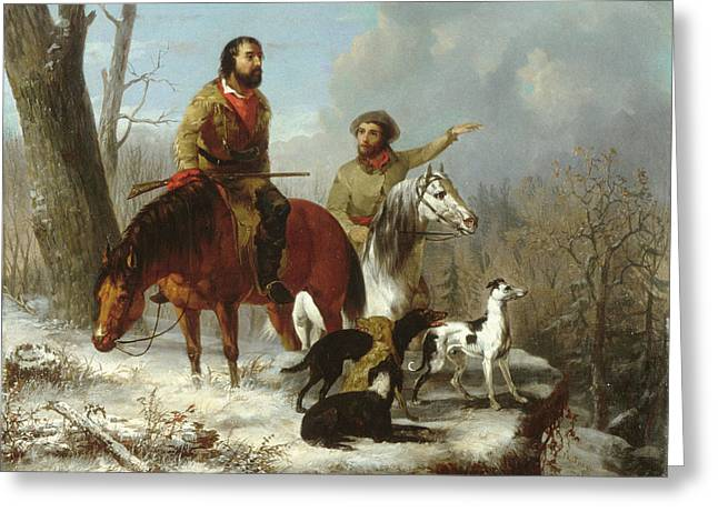 Greeting Card featuring the painting Trappers             by Trego and Williams