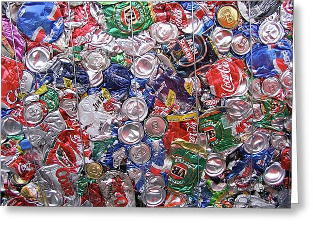 Trashed Cans Painting Over Photo Greeting Card by Tony Rubino