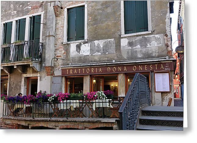 Trattoria Dona Onesta In Venice, Italy Greeting Card