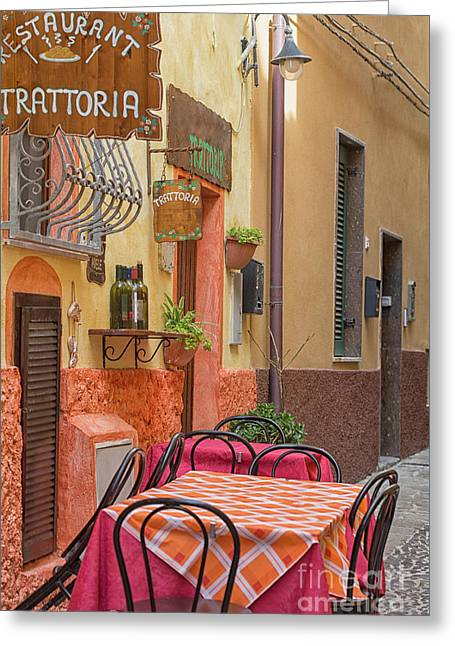 Trattoria With Outside Tables Greeting Card