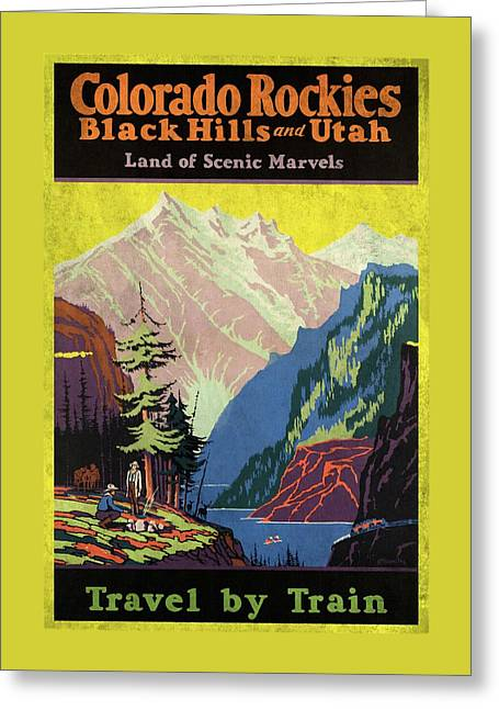 Travel By Train To Colorado Rockies - Vintage Poster Vintagelized Greeting Card
