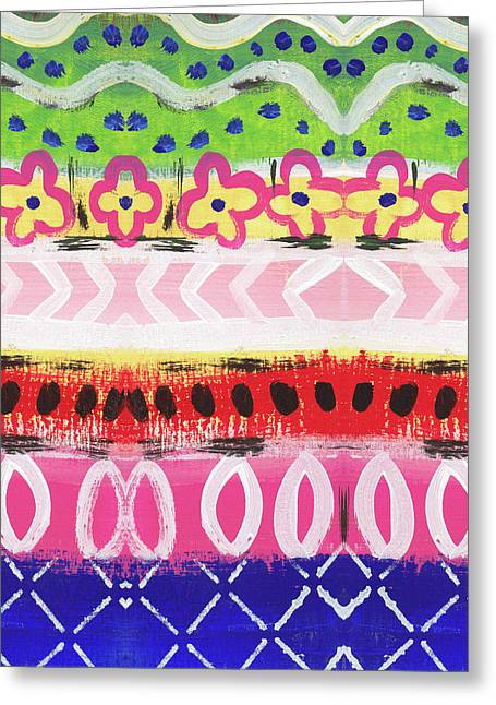 Painted Pattern 1- Art By Linda Woods Greeting Card by Linda Woods