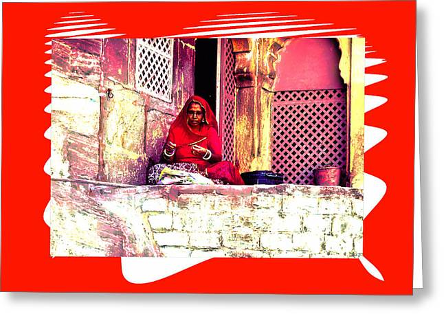 Travel Exotic Woman Sewing In Mehrangarh Fort India Rajasthan 2a Greeting Card