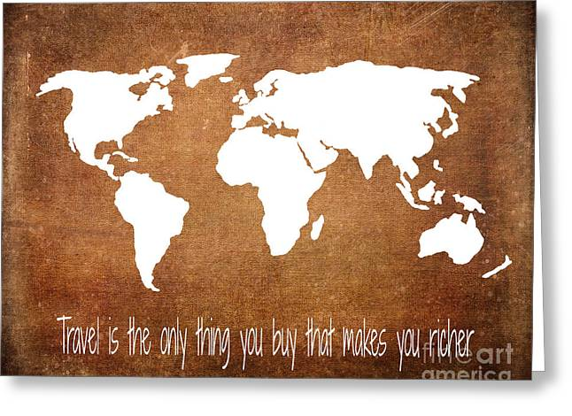 Travel World Map Greeting Card by Jennifer Mecca