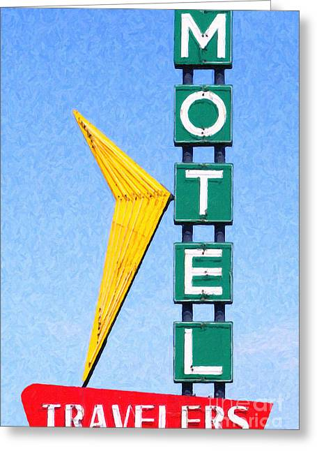 Travelers Motel Tulsa Oklahoma Greeting Card by Wingsdomain Art and Photography